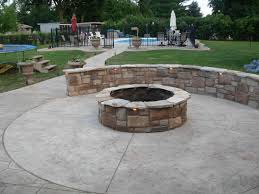 useful concrete patio with fire pit with diy home interior ideas
