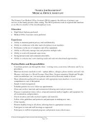 Medical Office Receptionist Resume Office Assistant Duties 12 Front Desk Manager Job Description