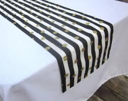 black white striped table runner black gold runner etsy
