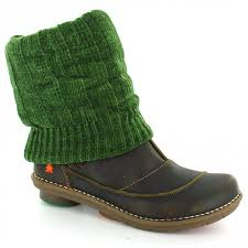 womens boots green leather company 0742 womens leather knitted sock ankle boots