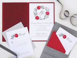 Asian Wedding Invitation Modern Chinese Wedding Invitation With Pomegranates And Double