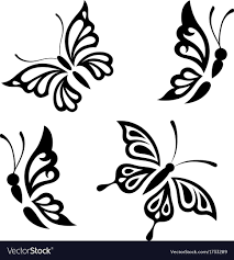 collection black and white butterflies royalty free vector