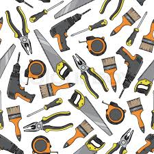 repair tools and electrical equipment background with seamless