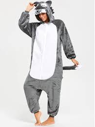 gray jumpsuit 2018 fleece onesie wolf jumpsuit sleepwear gray s in pajamas