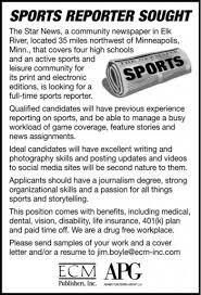 sports reporter at ecm publishers in elk river mn 55330 jobshub biz