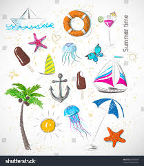 Beach Color by Color Sketches Summer Beach Objects Vector Stock Vector 202096009