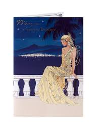 art deco birthday card clintons