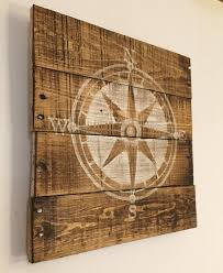 wood compass wall nautical compass sign nautical nursery by palletsandpaint