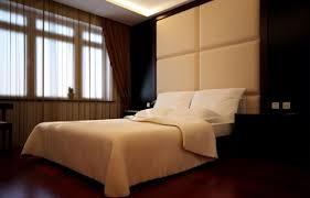 modern minimalist bedroom with soft background wall interior design