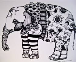 elephant drawing illustration art print coloring pages