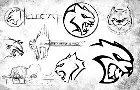 Dodge Challenger Drawing - the evolution of the hellcat logo