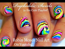 psychedelic nails rainbow pastel swirl short nail art design
