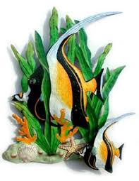 Tropical Decor Tropical Fish Wall Hanging Outdoor Wall Art Hand Painted Metal