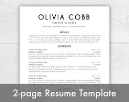 Mac Word Resume Templates Resume Template Word Etsy