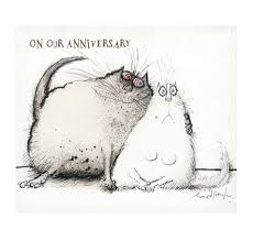 cat anniversary cards ronald searle cuddling cats card