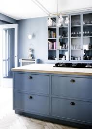 Blue Cabinets In Kitchen Fetching Blue Paint Color Wooden Kitchen Cabinets With Brown Color