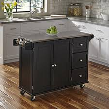 black kitchen island with stainless steel top amazon com home styles 4513 95 liberty kitchen cart with stainless