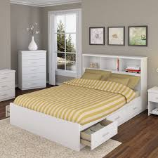 modern white wooden queen bed with storage drawers of queen