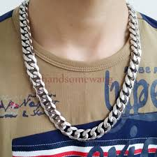 mens silver curb necklace images 316l stainless steel 15mm heavy silver curb mens cuban chain jpg
