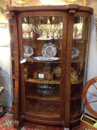 antique curved glass bow front oak china hutch by oldmillvintage
