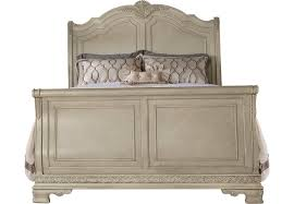 cortinella cream 3 pc queen sleigh bed beds light wood