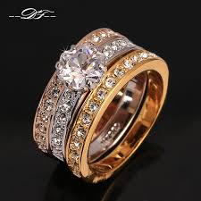 rose color rings images Anti allergy 3 rounds cubic zirconia paved engagement rings sets jpg