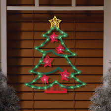 Christmas Window Decorations by Lighted Tree Window Decoration Walmart Com