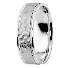 palladium wedding bands hammered wedding band 14k gold comfort fit ring with milgrain