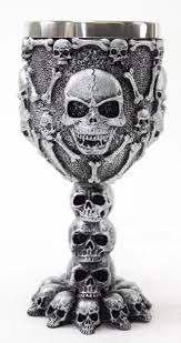 Collectible Home Decor Silver Skulls U0026 Bones Wine Goblet Stainless Medieval Collectible