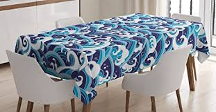 light blue table l amazon com japanese wave tablecloth by ambesonne traditional