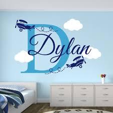 Wall Name Decals For Nursery Custom Boys Name Airplane Clouds Decal Nursery Decor Room