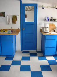 Blue Floor L Fetching Blue Paint Color Wooden Kitchen Cabinets With Brown Color