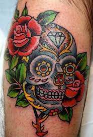sugar skull tattoos with flowers popular tattoo ideas