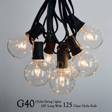 Led Outdoor Patio String Lights by 100 Ft G40 Outdoor Patio Party Globe String Lights 100 Sockets