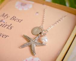 personalized initial jewelry starfish and initial and pearl personalized bridesmaid necklace
