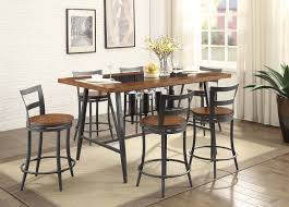counter height dining table with swivel chairs selbyville transitional style cherry gunmetal finish 7 pc counter