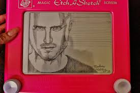 my friend drew jesse pinkman on an etch a sketch for the breaking