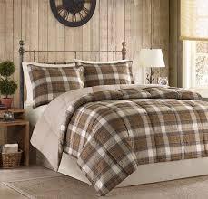 Brown Queen Size Comforter Sets Rustic Cabin Comforter Set Full Queen Size 3 Pc Brown Plaid Down