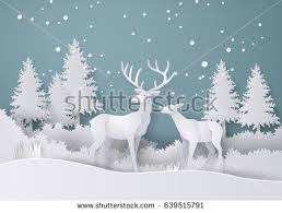 illustration winter season day deer stock vector