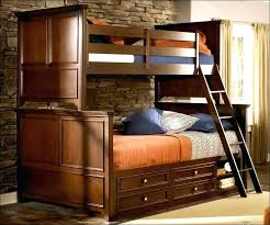 twin over full bunk bed with desk kids honey colored pine wood