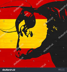 The Flag In Spanish Spanish Bull Black Bovine Head Over Stock Vector 94738837