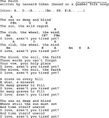 Blind Faith Song Leonard Cohen Song The Faith Lyrics And Chords