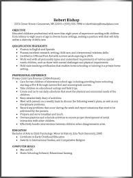 cover letter resume sample for nanny sample resume objectives for