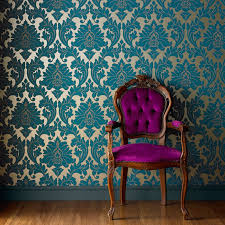 majestic damask wallpaper designer blue wall coverings by graham