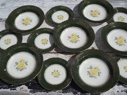 homer laughlin vintage greenbriar vintage green yellow homer laughlin plates