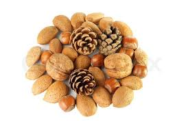 christmas nuts christmas decoration with mixed nuts and pine cones stock photo