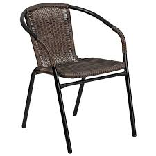 Patio Stack Chairs by Amazon Com Flash Furniture Dark Brown Rattan Indoor Outdoor
