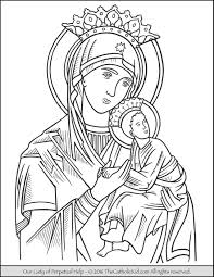 our lady of perpetual help coloring page catholic coloring pages