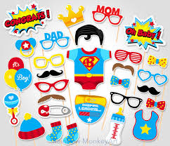 superman baby shower baby shower photo booth props superman photo