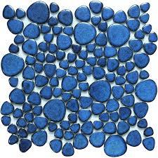 blue porcelain pebble tiles shape glazed wall tile mosaic